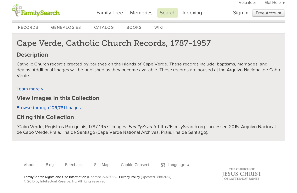 Cape Verde, Catholic Church Records, 1787-1957